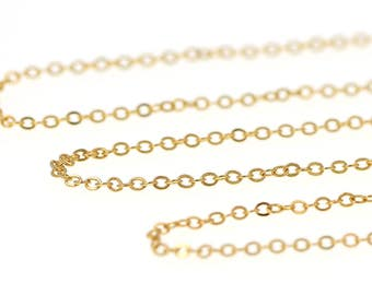 GOLD Tone Brass Chain Feminine Exquisite NICKEL FREE 2mm Flat Cable Chain (Soldered Links)