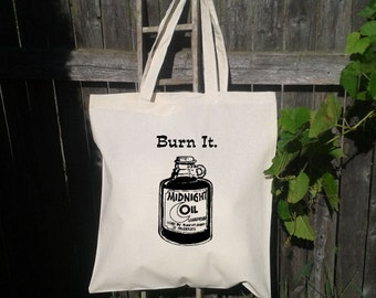 Eco Friendly Canvas Tote Bag - Reusable Grocery Bags - Unique Images - Burn the Midnight Oil