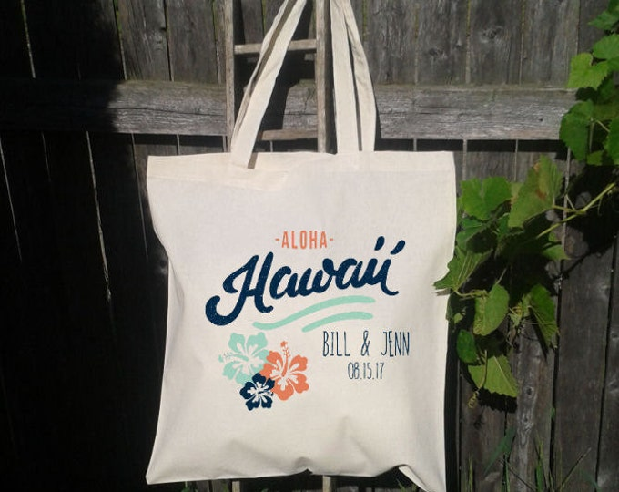 Wedding Welcome Tote, Hola Amigo, Hawaii Wedding Aloha, Customize for FREE