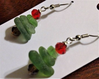Christmas Tree beach glass earrings, green glass with red and brown crystal, hypoallergenic ear wires
