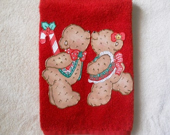 Appliqued Towel, Appliqued Hand Towel,  Christmas Bathroom Hand Towel, Appliqued Christmas Kitchen Towel, Christmas Kissing Bears Towel