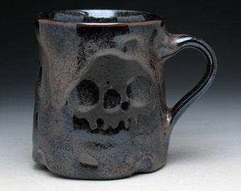 Triple Skulls Coffee Mug in Metallic Bronze and Black Glaze