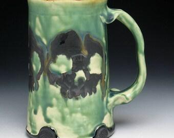 Triple Black Skulls Beer Mug in Melting Swamp Green Glaze