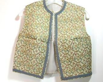 Handmade Vintage Tapestry Vest, Woman's Colonial Reenactment Costume