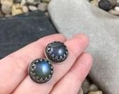 10mm round blue labradorite earrings, sterling silver earrings, gallery bezel wire round earrings