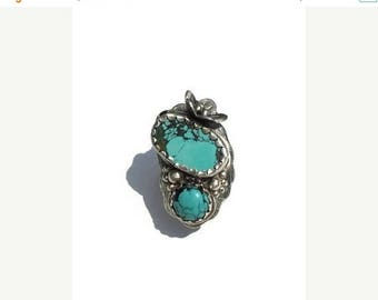 ON SALE Boho turquoise ring, Real Turquoise ring, Bohemian ring, Multistone ring, cocktail ring, PMC ring