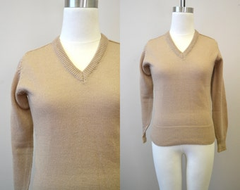 1960s Tan V-Neck Sweater