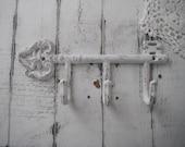cottage chic aged white key hook antiqued weathered leash hook scarf hook belt holder shabby decor clothing hook french country wall hook