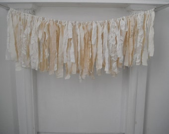 cream rag garland shabby decor holiday decor nursery hanging wall decoration wedding decor cottage chic lace garland 3 foot x 12 inch