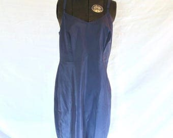 Vintage 50s Lingerie Navy Blue Full Slip SNIP IT Size 34  Nylon Dacron Rockabilly Betty Jackpot Jen