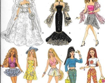 "Simplicity 4719 Barbie Doll Clothes Pattern 11 1/2"" Fashion Doll Evening Dress Wedding Beach UNCUT"