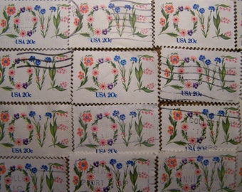 Valentine Love Stamps - Lot of 100 Love Flowers Used Love Stamps as Pictured