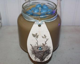 32oz BLUEBERRY PANCAKES Scented Primitive Spring Vintage Bird Nest Tag Blue Eggs Jar Candle - Highly Scented
