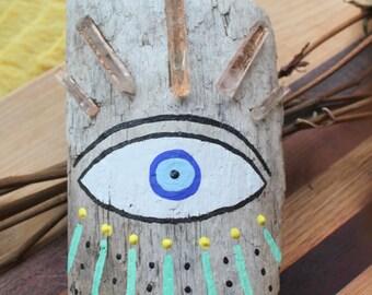 Wall Hanging | Protective eye | Evil Eye | Quartz | Tangerine Quartz | Shaman | Tribal