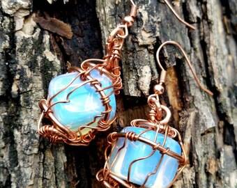 Copper & opalite wire wrapped earrings