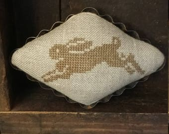 Primitive cross stitch Leaping Bunny mini pinkeep folk art handmade