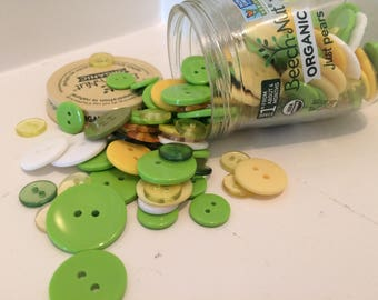 Button Jar Craft Buttons Glass Baby Food Jar Solid Clear Green Yellow White Pear Sewing Collection