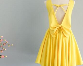 Lemon yellow dress yellow party dress backless dress yellow prom dress lemon yellow cocktail dress weddingyellow bridesmaid dresses