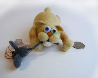 Сat fisherman - needle felted sculpture - suction cup for your car windows and not only