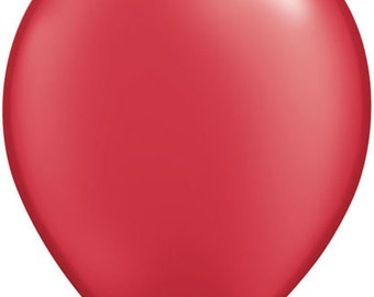 "5"" PEARL Ruby RED latex BALLOONS (6 pc) -- pif.pay it forward.aok"