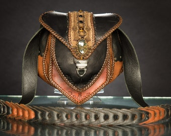 Leather Statement Shoulder Bag with Micro Macrame Inlay and Labradorite stone