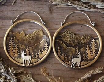 Mt. Whitney Landscape Hoops in Brass and Sterling Silver Deer Sierra Nevada Mountain Jewelry Ear Weights Mountain Hoops for Gauges
