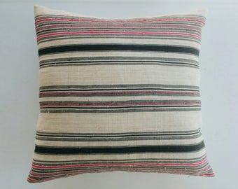 Pink and Black Striped Hmong Pillow Cover - Boho Modern Farmhouse Throw Pillows