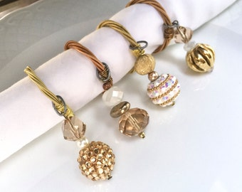 Guitar String NAPKIN RINGS -  Beaded Napkin Rings - set of 4 - gold, white, brown - upcycled/recycled - gifts under 25 dollars