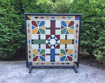 """19"""", Parcheesi, Game Board, Hand Painted, Folk Art, Primitive, Wood, Wooden, Board Game, Game Boards,"""
