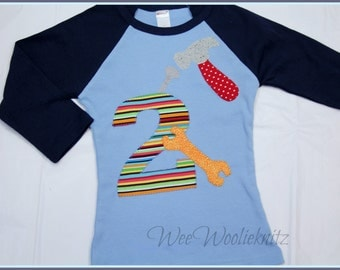 Boys Constuction Birthday Shirt-ANY NUMBER- Baseball Style Tee- Personalized Applique Toddler 1st 2nd 3rd Summer