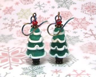 Happy Snow Tree Earrings - Winter Solstice - tree Artisan Lampwork - Glass Art Jewelry - Niobium Earrings - CIJ - Christmasinjuly - Xmas Art
