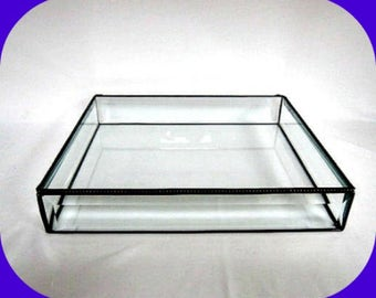 12 X 10 x 2 Tall, Stained Glass Box,  Glass Display Case