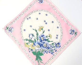 Women's Spring Hanky with A Pastel Blue and Yellow Bouquet with a Pink and White Background, Floral Handkerchief in Pastel Colors
