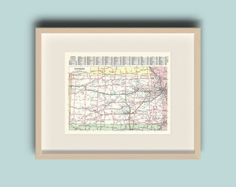 Kansas United States Vintage 1978 Map Instant Download Printable Map Home Library Decor