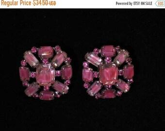 "ON SALE Vintage Pink Signed Kramer Givre Glass""Liquid Effect"" Cushion Cut Rhinestone Earrings, Art Glass, Pierced Conversion Available"