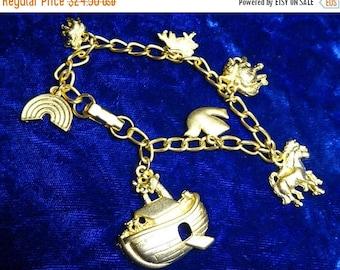 ON SALE Noah's Ark Bracelet , Noah's ark charms, charm bracelet,