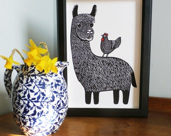 Llama and Chicken, Original Linocut Print, Signed Open Edition, Free Postage in UK, Hand Pulled, Printmaking,