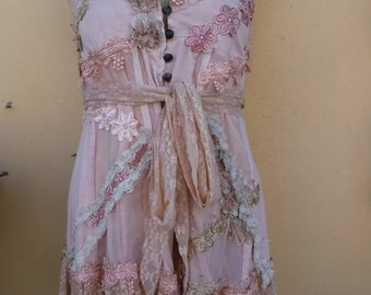 """20%OFF bohemian gypsy woodland retro tribal top small to firm 36"""" bust.....FREE SHIPPING"""
