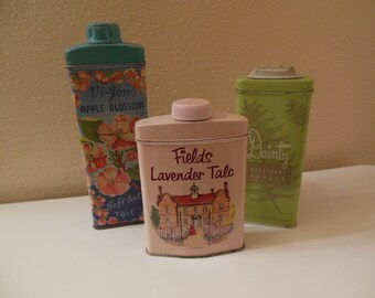 Vintage Tin Talc Collection, Collection of Three
