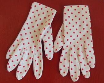 Vintage RED Polka Dot Gloves