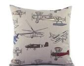 "Vintage Airplane Throw Pillow Cover 18x18"" Gray, World Travel Decor, Airplane Decor Pillow, Airplane Nursery Adventure Pillow, Flight School"