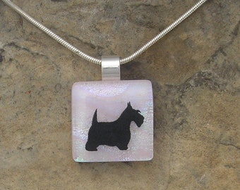 Scottish Terrier Necklace Fused Glass Jewelry Glass Dog Pendant
