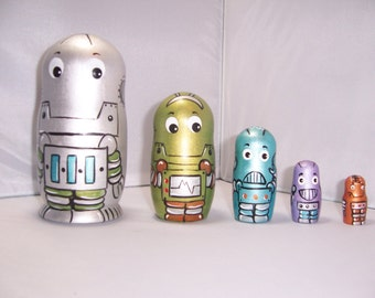 Hand painted Robots stacking nesting doll set