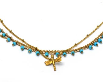 Turquoise Choker. Dragonfly Necklace. Multi Chain Choker. Layering Necklace. Insect, Bug Jewelry. In Gold or Silver.