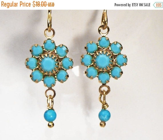 20% off. Daisy flower earrings. Turquoise and gold earrings with a vintage twist