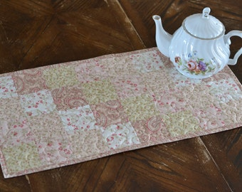 Floral Quilted Table Runner, Cottage Chic Decor, Pink Green Kitchen, Cotton dresser scarf