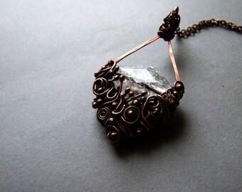 Winter Necklace, White Bohemian Copper Necklace, Rustic Jewelry, Bohemian White Winter Necklace