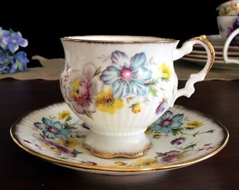 Elizabethan Teacup and Saucer, Urn Shaped Tea Cup, Multi Colored Flowers, Vintage Bone China 13804