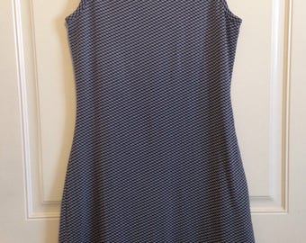Womens vintage 90's dark navy and white sleevless small checkered body-con dress