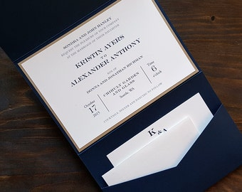Pocket Wedding Invitation - Elegant Wedding Invitation - Navy Wedding Invitation - Clean Wedding Invitation - Style E-4 - SAMPLE